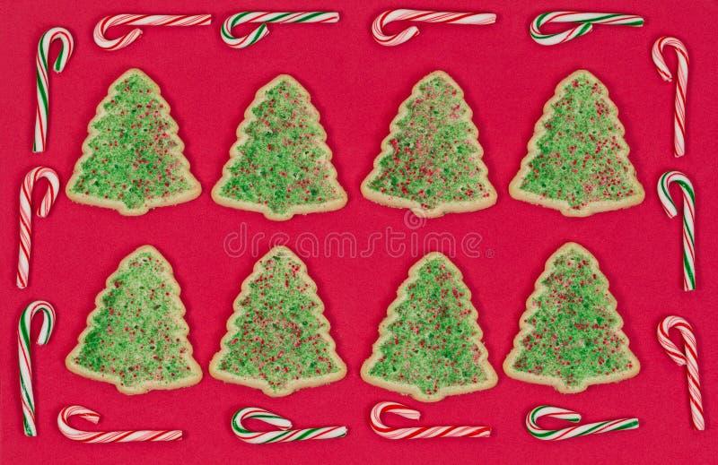 Kerstboom gevormde die koekjes door de grens van het suikergoedriet worden omringd stock afbeelding