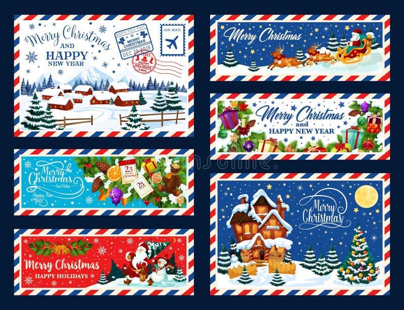 Kerstboom, giften en Kerstman Kerstmisprentbriefkaar vector illustratie