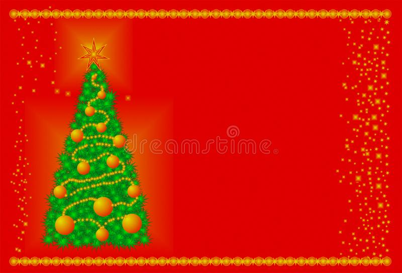 Kerstboom groen bij de rode stichting, vrolijke Kerstmis, gelukkig nieuw jaar, beste wensen stock illustratie