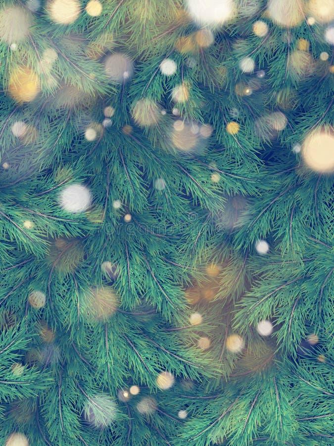 Kerstboom groene takken van pijnboom en gouden slingerlichten Eps 10 vector illustratie