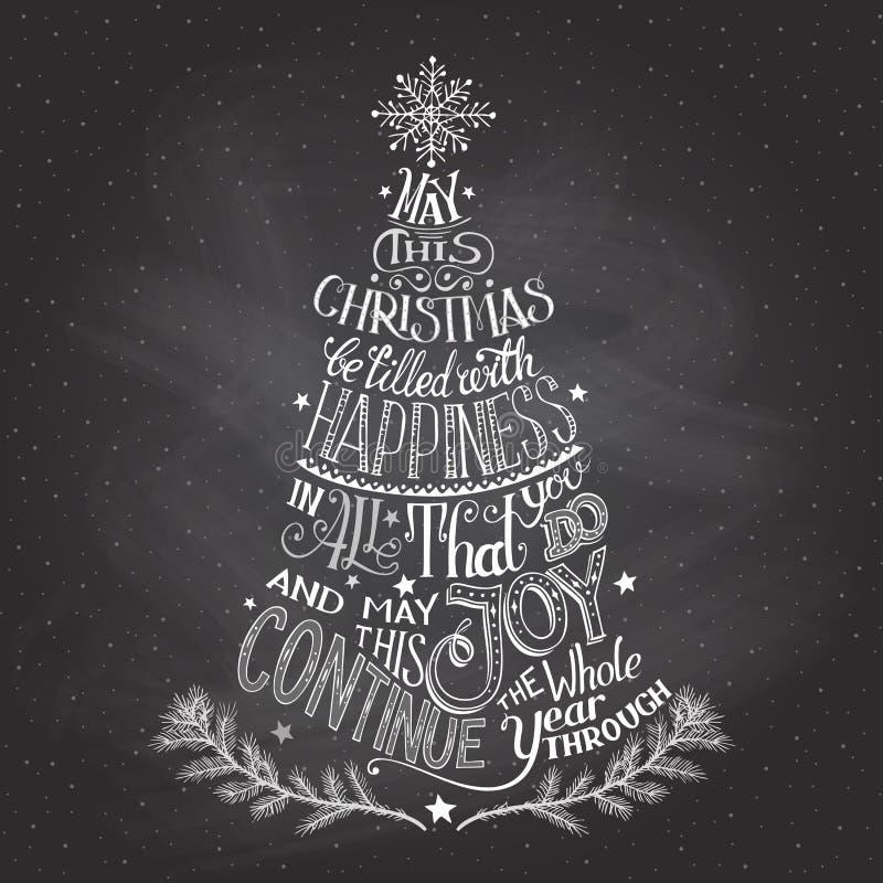 Kerstboom hand-van letters voorziet met krijt