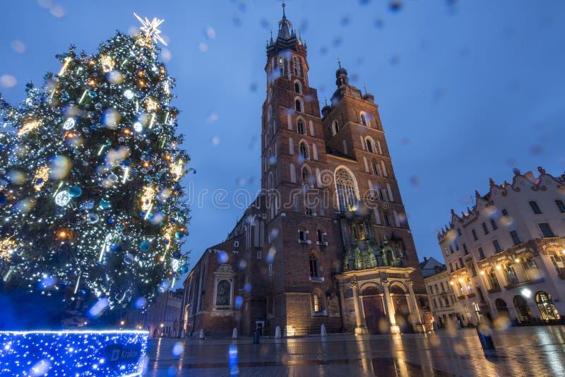 Kerstboom, kathedraal, Hoofdmarktvierkant, Krakau, Polen stock afbeeldingen