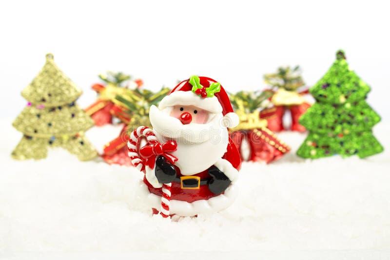 Kerstboom, klok, de Kerstman royalty-vrije stock afbeelding