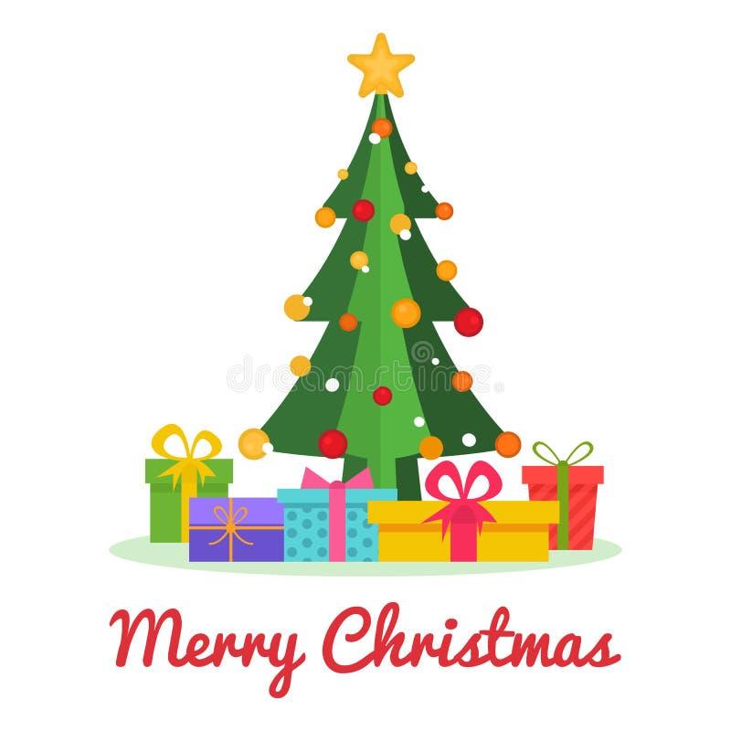 Kerstboom met ballen, ster, sneeuw, giftdozen Vrolijke Kerstmis en Gelukkig Nieuwjaarontwerp Heldere Kerstmisboom in vlakke stijl stock illustratie