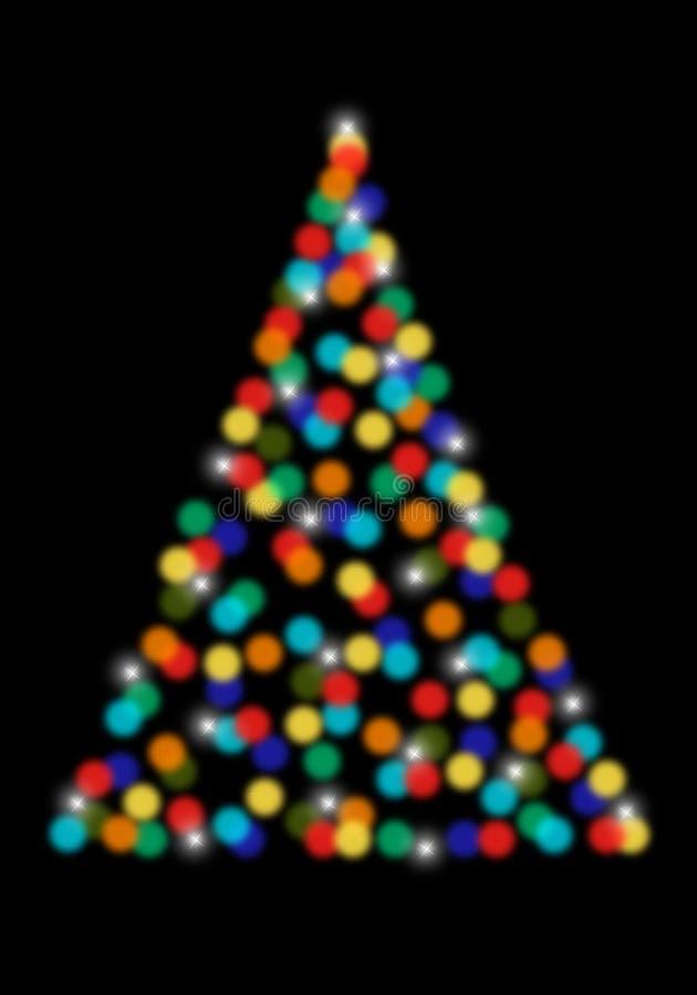 Kerstboom met bokehlichten, vector vector illustratie