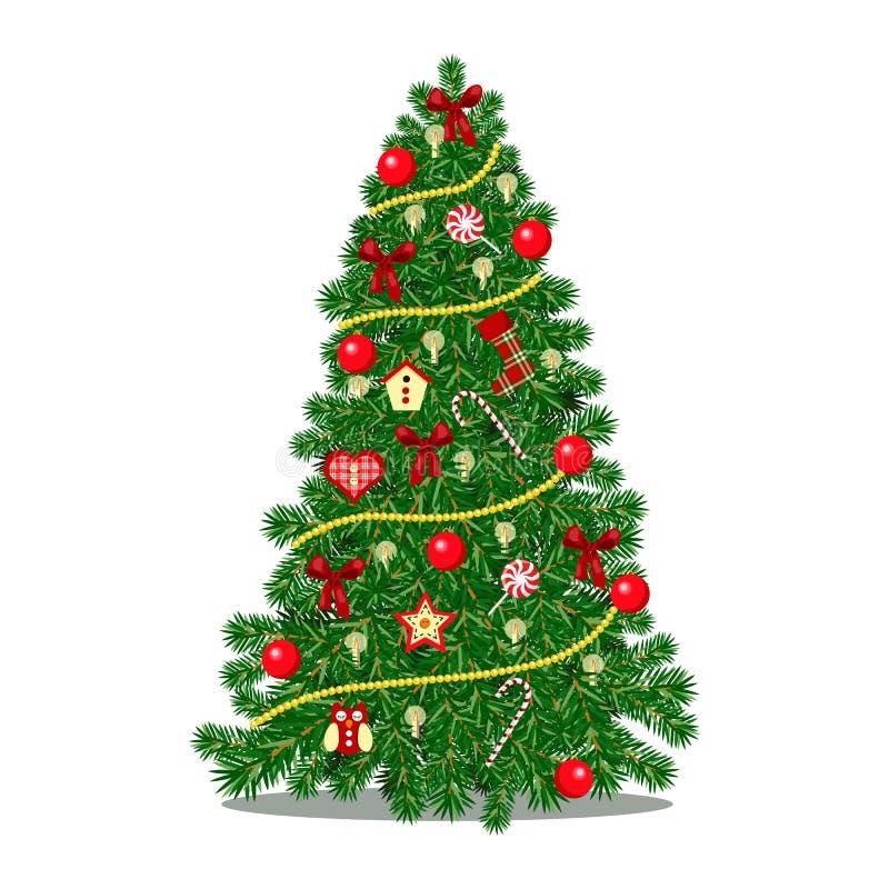 Kerstboom met confettienlovertjes en glasballen wordt verfraaid in rode en gouden kleur voor de slinger van de Kerstmisvakantie m stock afbeelding