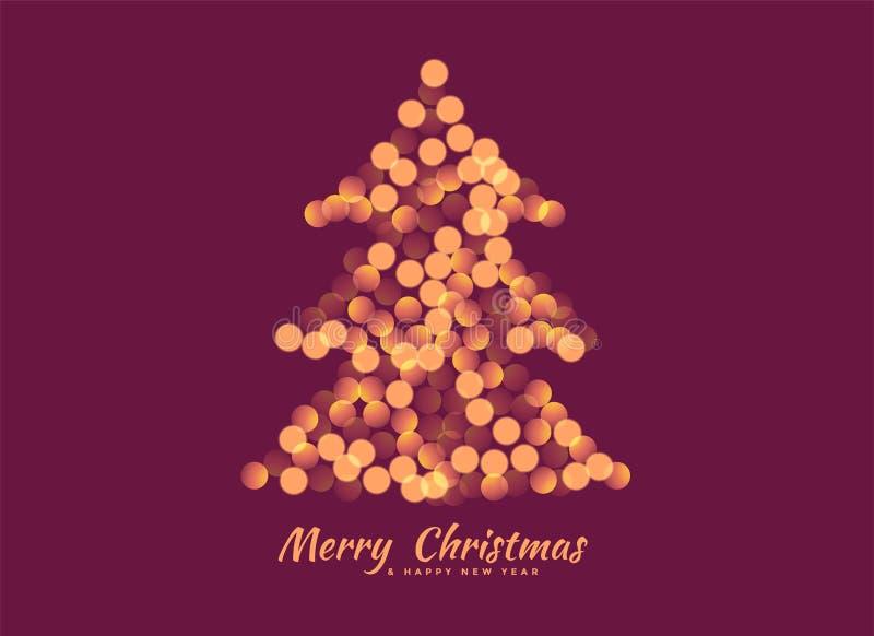 Kerstboom met de achtergrond die van bokehlichten wordt gemaakt vector illustratie