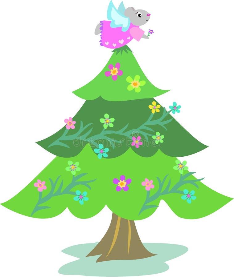 Download Kerstboom Met De Engel Van De Muis Vector Illustratie - Illustratie bestaande uit slinger, bladeren: 10783798
