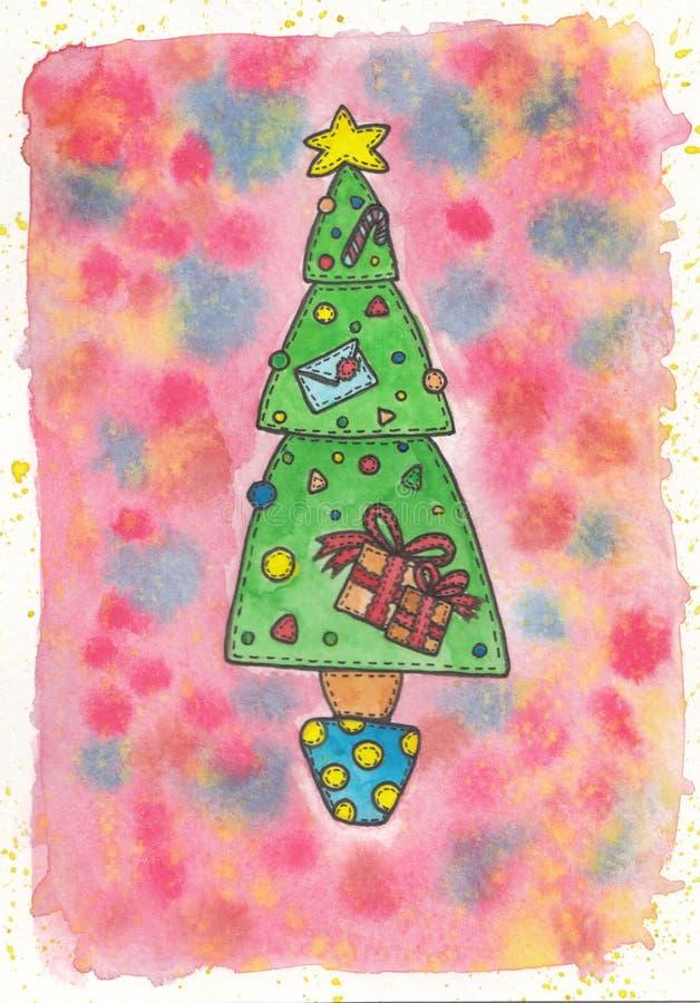 Kerstboom met de giften stock afbeelding