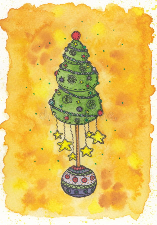 Kerstboom met de sterren royalty-vrije stock fotografie