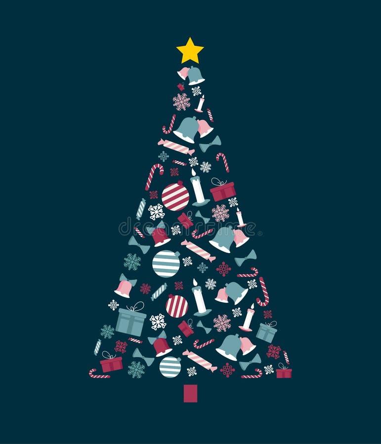 Kerstboom met decoratieve illustraties en ornamenten Duif als symbool van liefde, pease royalty-vrije illustratie