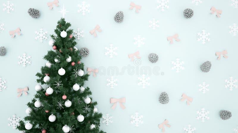 Kerstboom met Denneappel, Sneeuwvlok en lint op lichtblauwe achtergrond - kunstwerk voor 3D Kerstmisdag of gelukkig nieuw jaar - stock foto