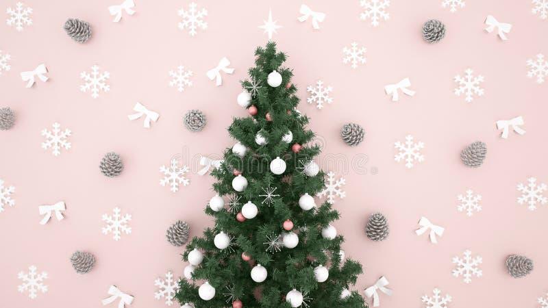 Kerstboom met Denneappel, Sneeuwvlok en lint op lichtrose achtergrond - kunstwerk voor 3D Kerstmisdag of gelukkig nieuw jaar - royalty-vrije stock fotografie