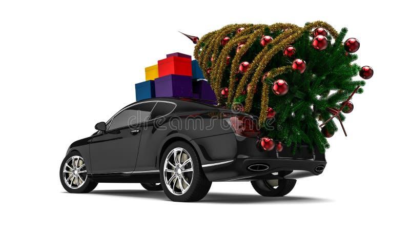 Kerstboom met een Luxeauto royalty-vrije illustratie