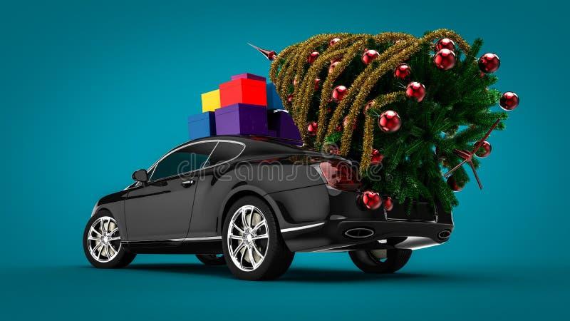 Kerstboom met een Luxeauto stock illustratie