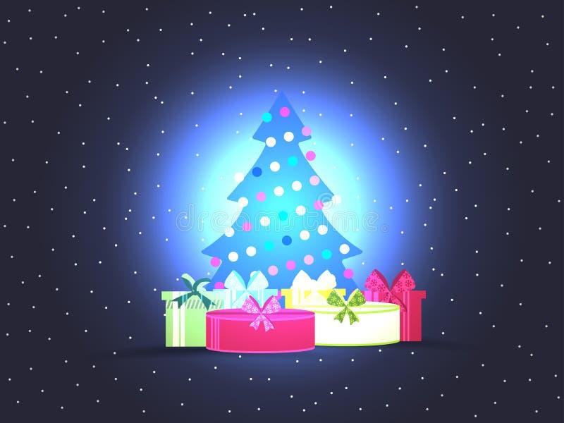 Kerstboom met giftdozen De heldere affiche van Kerstmis Vector royalty-vrije illustratie
