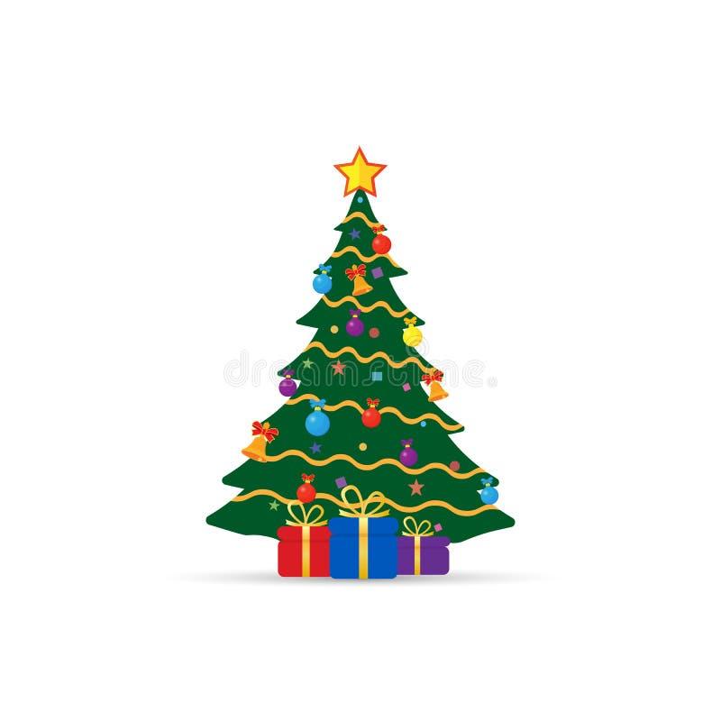 Kerstboom met giften vector illustratie