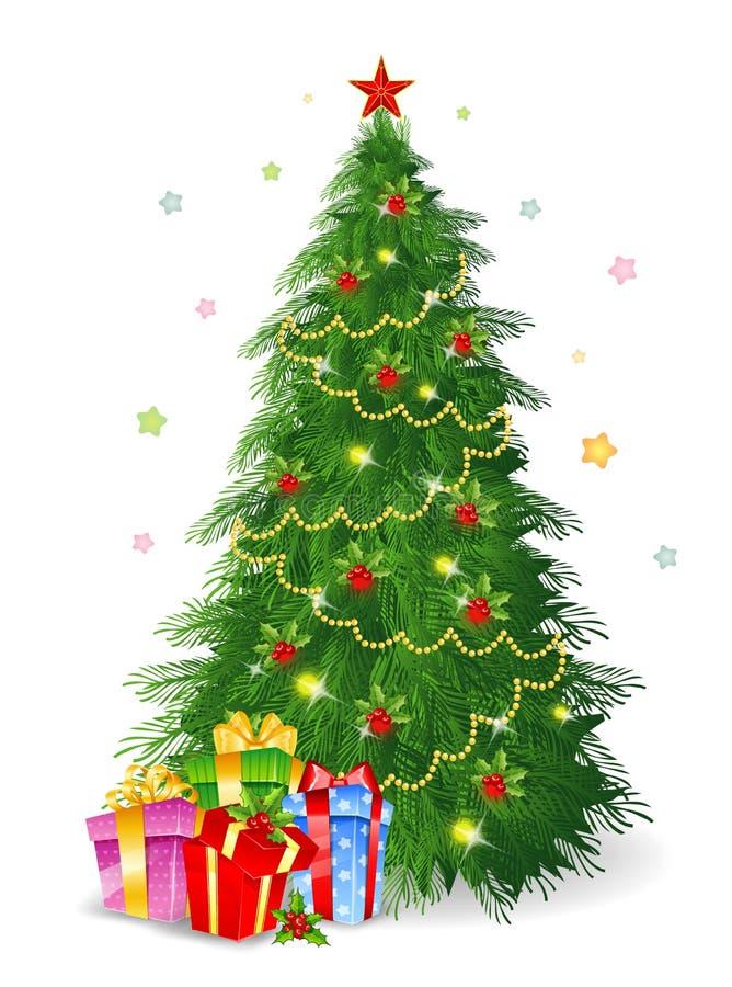 Kerstboom met giften royalty-vrije illustratie