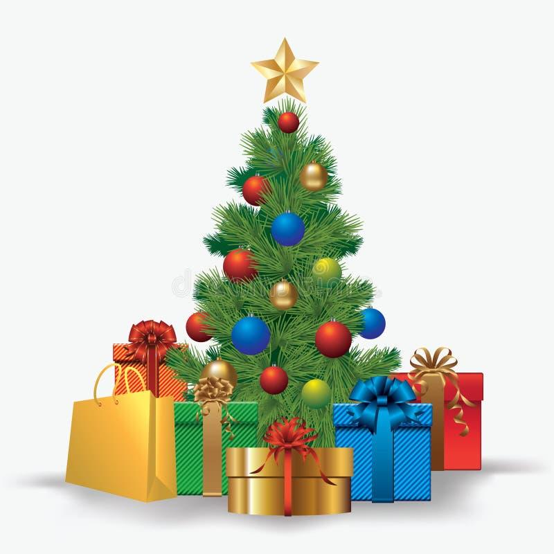 Kerstboom met giften stock illustratie