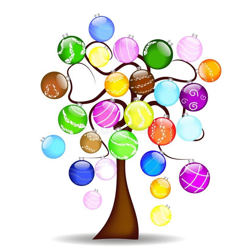 Kerstboom met glanzende ballen vector illustratie