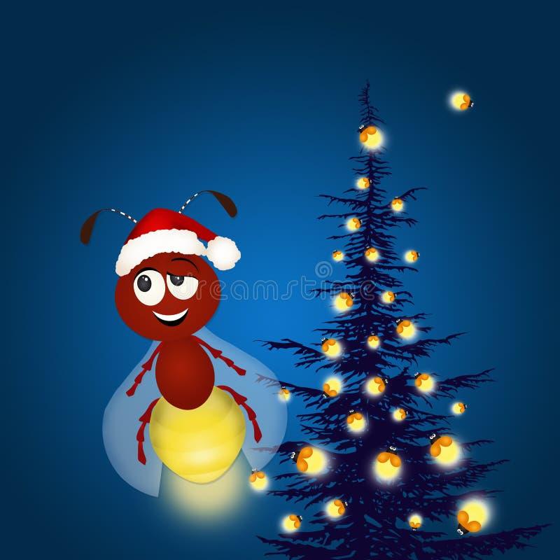 Kerstboom met glimwormen royalty-vrije illustratie