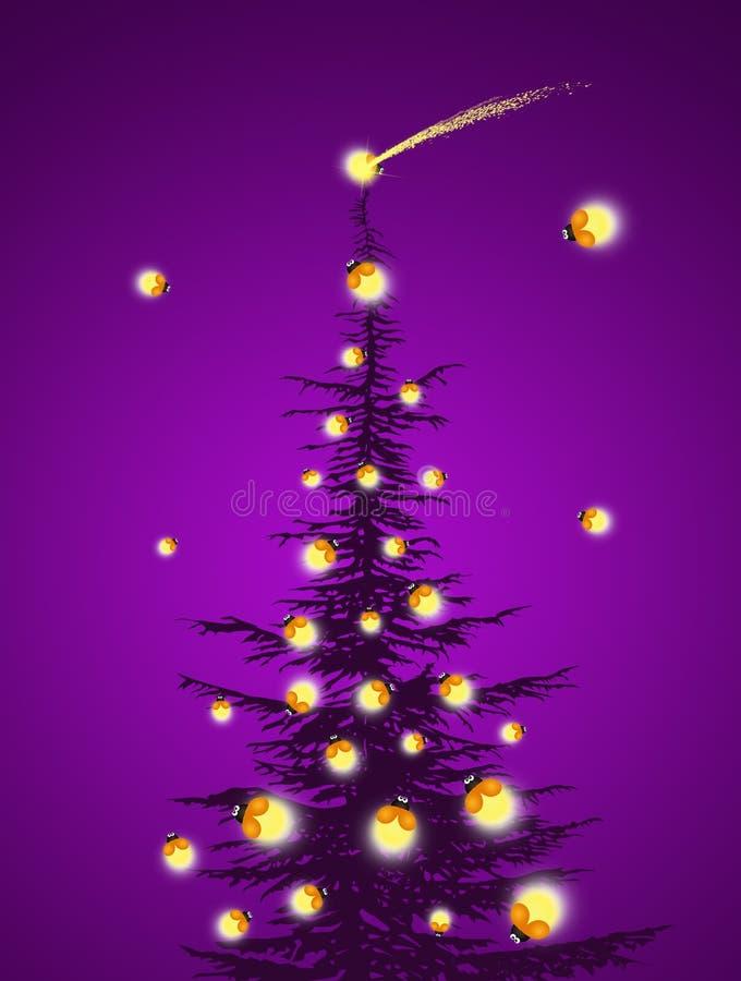 Kerstboom met glimwormen stock illustratie