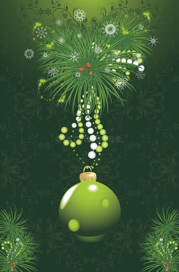 Kerstboom met groen bal en klatergoud. Kaart vector illustratie