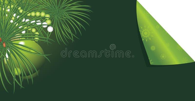 Kerstboom met groen bal en klatergoud. Sticker royalty-vrije illustratie