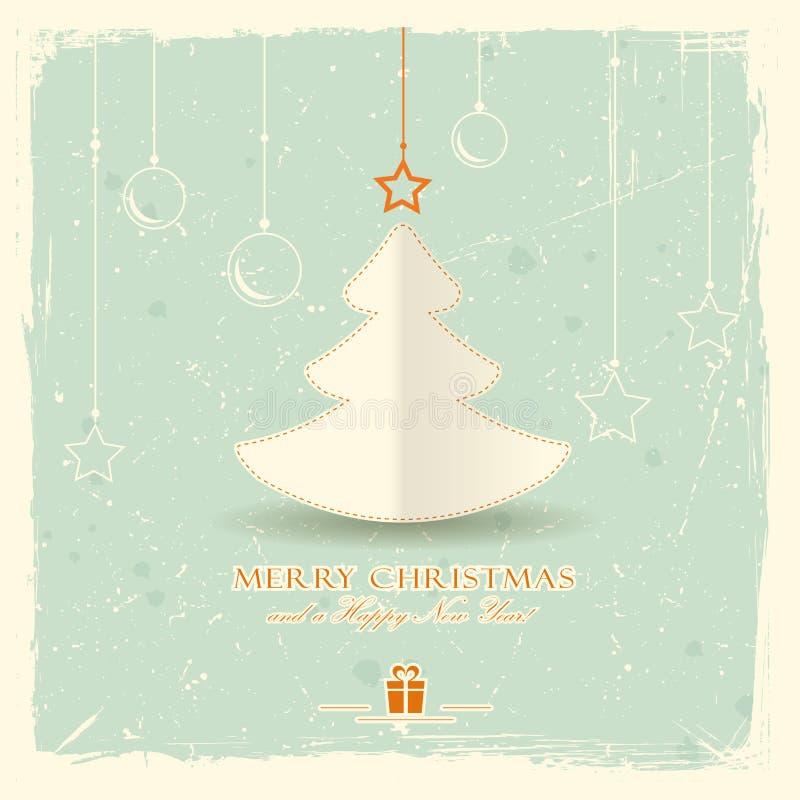 Kerstboom met het hangen van ornamenten stock illustratie