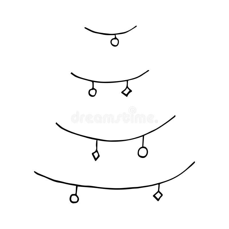 Kerstboom met Kerstmisspeelgoed De achtergrond van de vakantie stock illustratie
