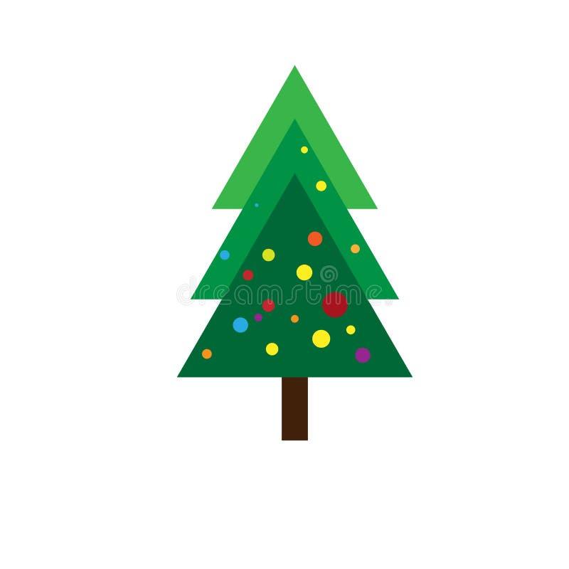 Kerstboom met kleurrijk licht vlak pictogram stock illustratie