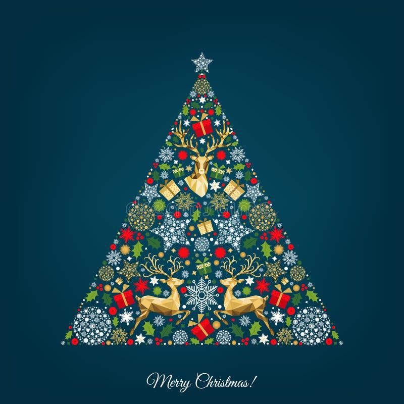 Kerstboom met kleurrijk rendier, giften, sneeuwvlokken royalty-vrije illustratie