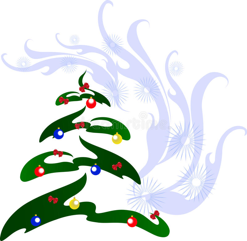 Kerstboom met kleurrijke ballen EPS10 vectorillustratie vector illustratie