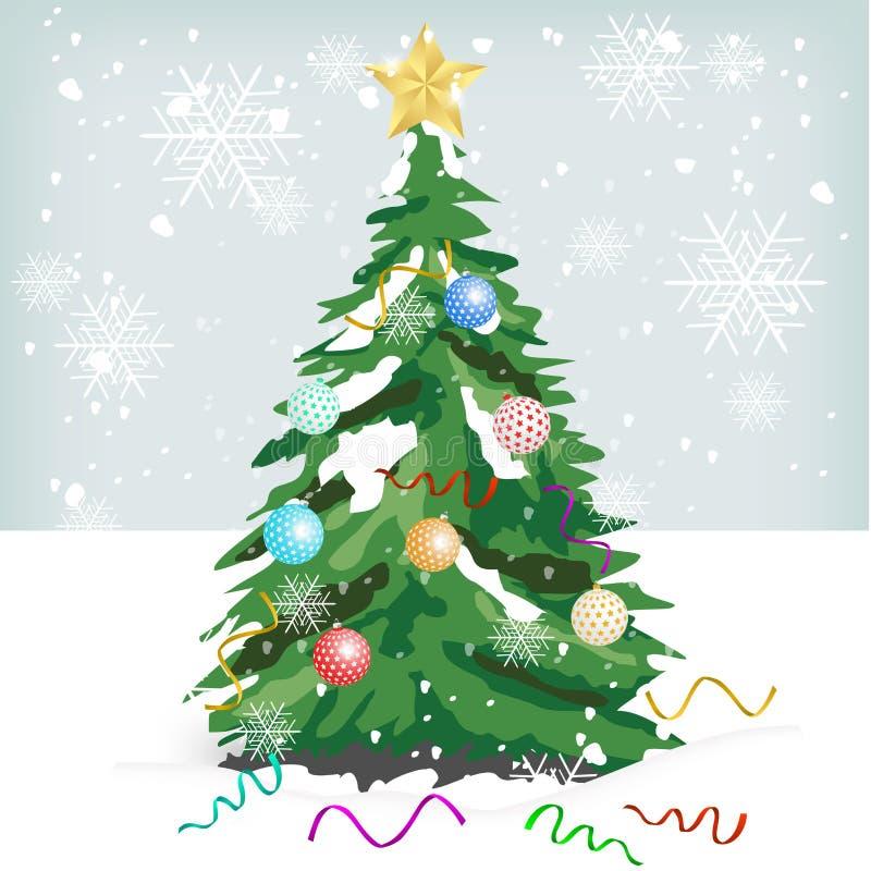 Kerstboom met Kleurrijke Ornamenten vector illustratie