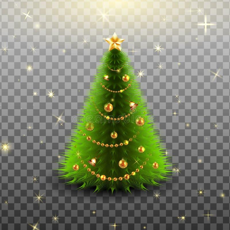 Kerstboom met kleurrijke snuisterijen en gouden ster op de geïsoleerde bovenkant stock illustratie