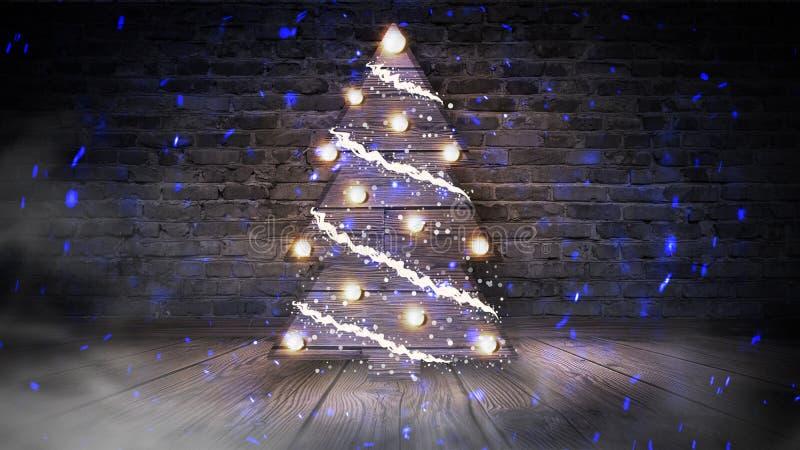 Kerstboom met lichten op de houten vloer, lichten, lichten, lichten, glans, rook royalty-vrije illustratie