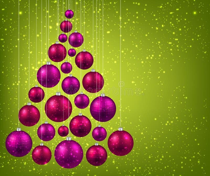 Kerstboom met magenta Kerstmisballen vector illustratie