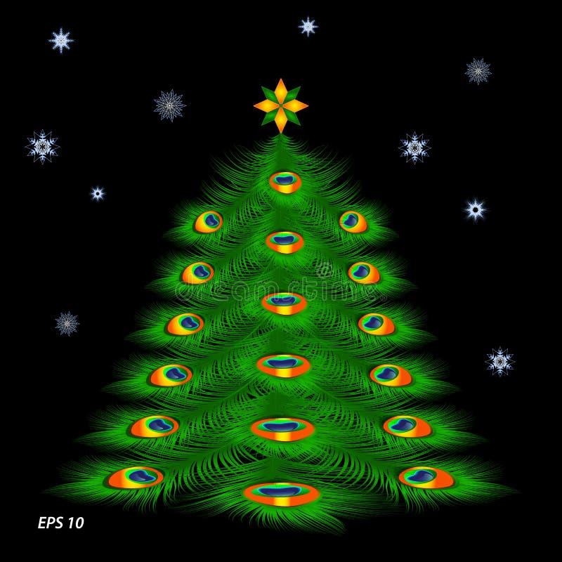 Kerstboom met pauwveren en sneeuwvlokken royalty-vrije illustratie