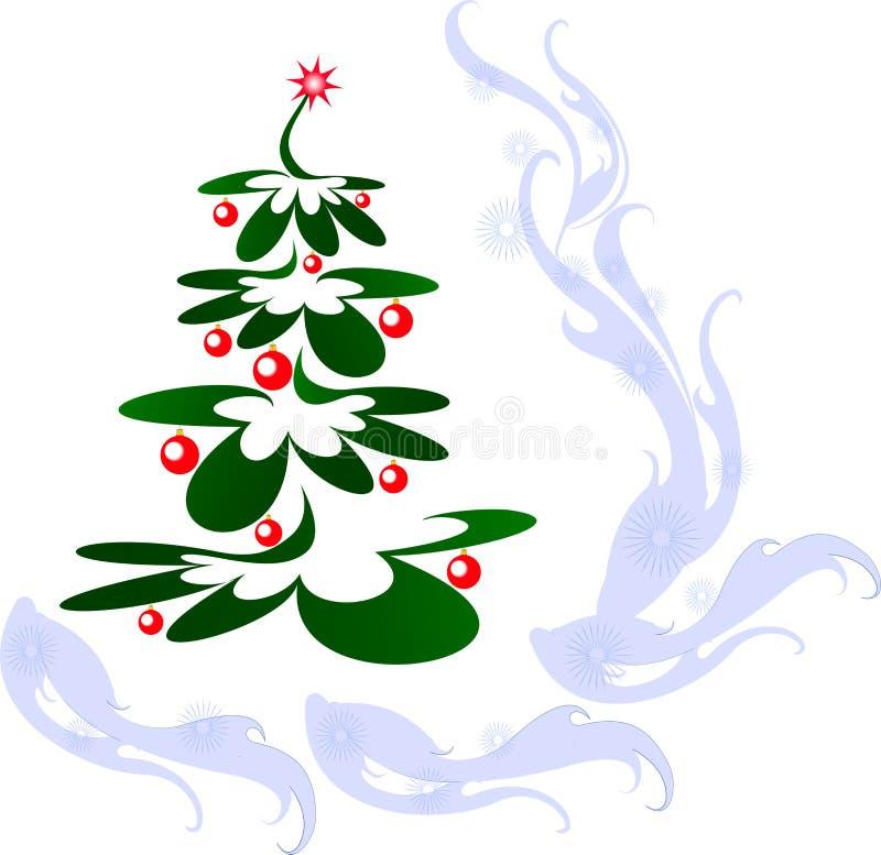 Kerstboom met rode ballen en ster EPS10 vectorillustratie stock illustratie