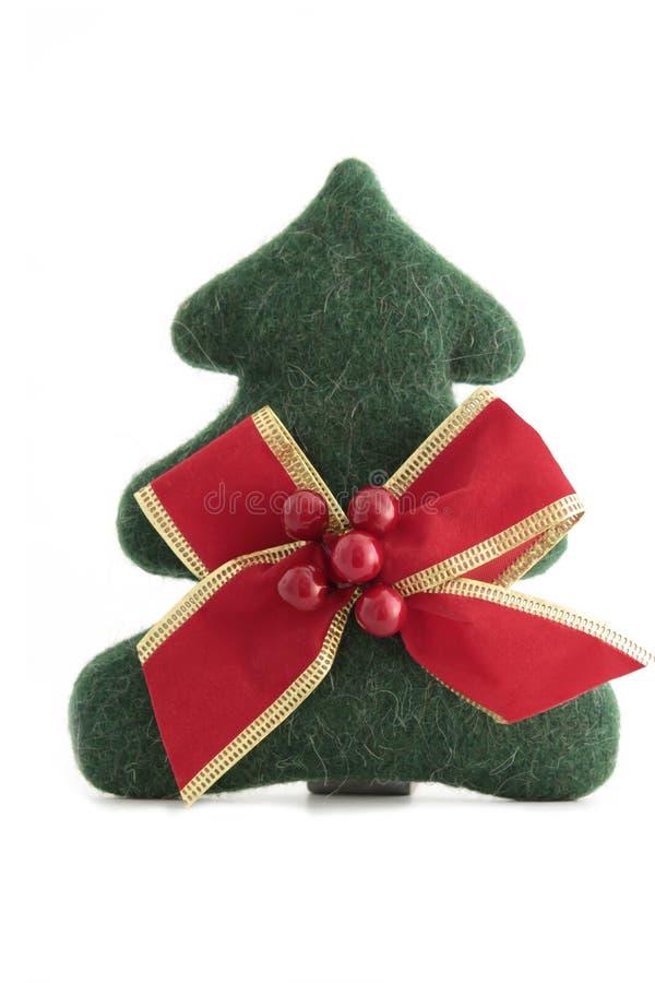 Kerstboom met rode boog/Choinka stock afbeelding