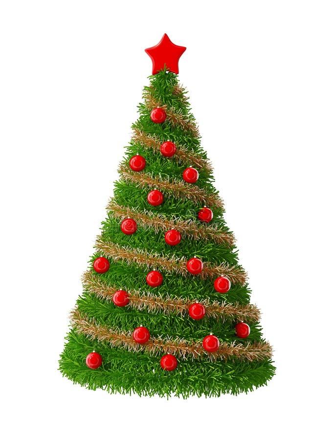 Kerstboom met rode decoratie vector illustratie