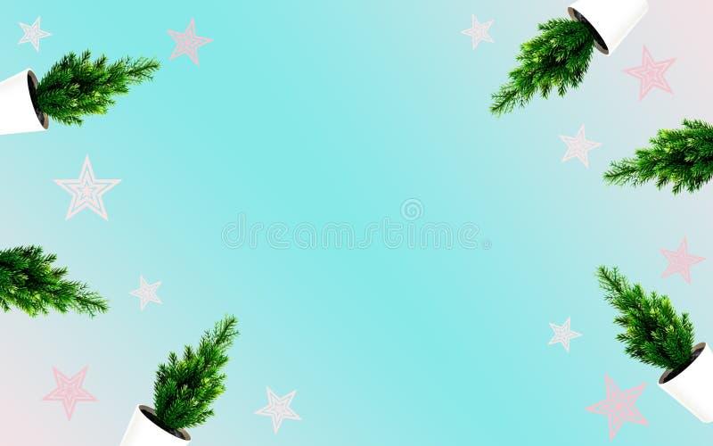 Kerstboom met roze ster op lichtblauwe achtergrond Kleurenontwerp van de illustratiepastelkleur van het kunstwerk voor het nieuwe royalty-vrije illustratie