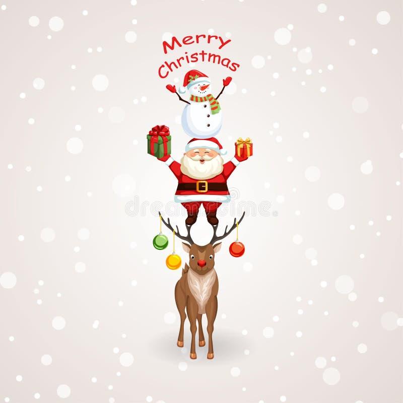 Kerstboom met Santa Claus, rendier en sneeuwman vector illustratie