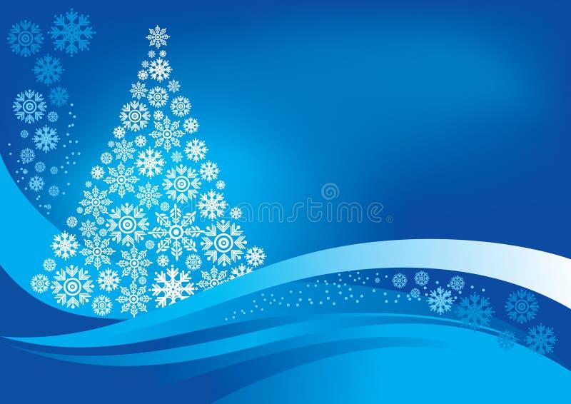 Kerstboom met sneeuwvlokken stock illustratie