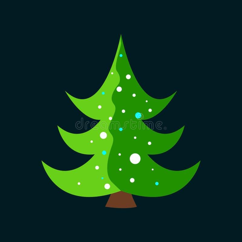 Kerstboom met sneeuwvlokken die wordt verfraaid vector illustratie
