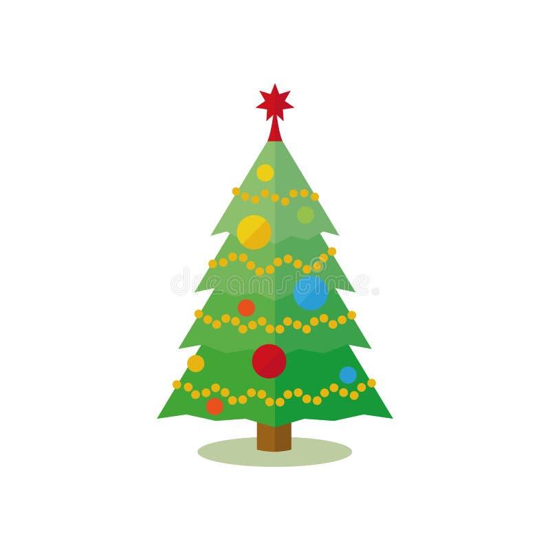 Kerstboom met snuisterijen, slinger en ster wordt verfraaid die stock illustratie