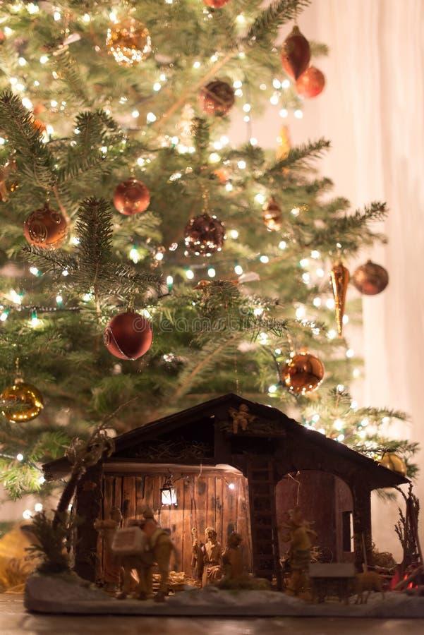 Kerstboom met Voederbak stock foto