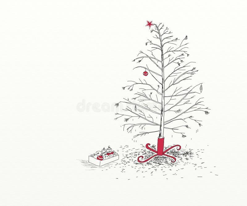 Kerstboom na Kerstmis royalty-vrije illustratie
