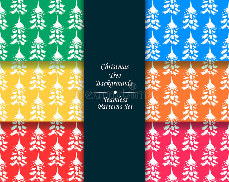Kerstboom naadloze patronen geplaatst illustraties vector illustratie