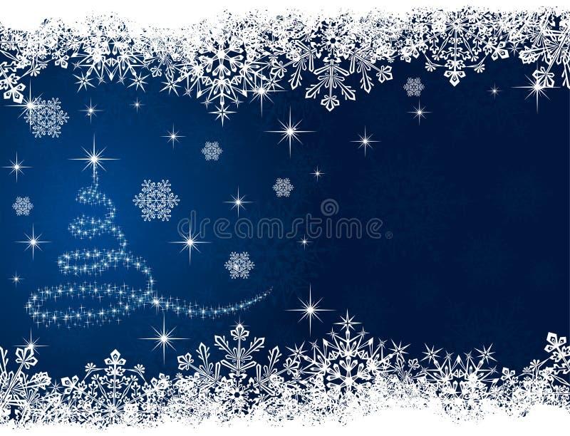 Kerstboom op blauwe achtergrond stock illustratie